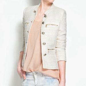 Zara Cream Tweed Blazer Jacket sz L